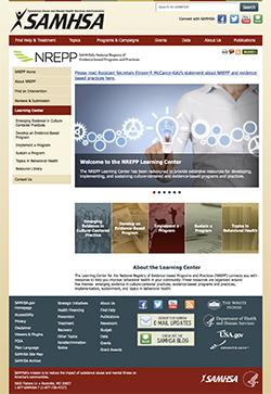 website screenshot from SAMHSA homepage